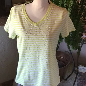 NWOT Chico's Green and White Striped Top